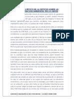 Analisis Crítico de La Noticia Sobre La Contaminacion Ambiental en La Oroya