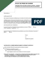 Certificat de Prise en Charge Etudiant