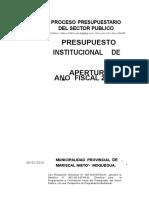 Presupuesto Institucional de Apertura Ano Fiscal 2014