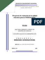 Propuesta de Evaluación de La Calidad Educativa Para La UPIICSA-IPN