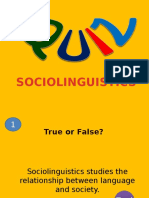 Sociolinguistics QUIZ
