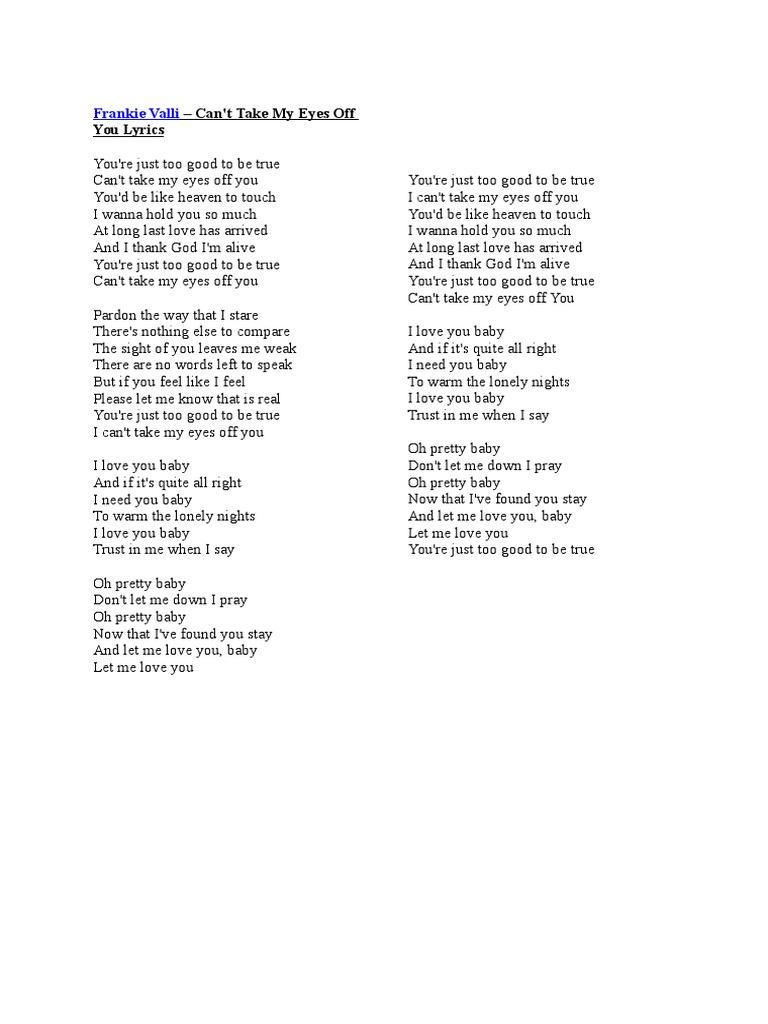 lirik lagu cant take my eyes