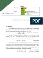 Modelo de Relatório - Equilíbrio Químico – Princípio De Le Chatelier