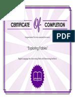 TutorialCertificate-ExploringFables