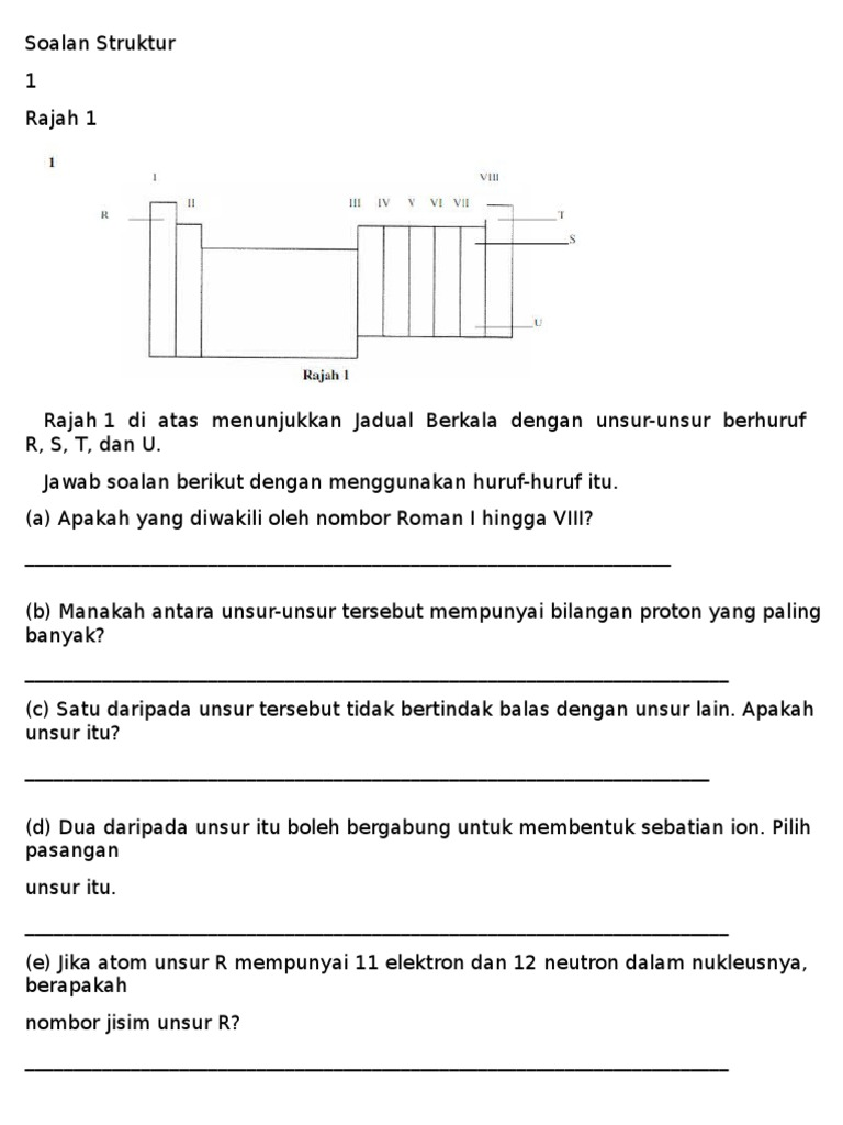 Soalan Kimia Bab 2 Form 4 Struktur Atom