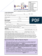 party request form form 2016 1