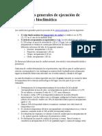 Condiciones Generales de Ejecución de Una Carta Bioclimática