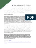 KORS Michael Kors Limited Stock Analysis