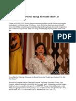 Indonesia Miliki Potensi Energi Alternatif Shale Gas Terbesar Di Dunia