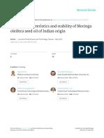 Quality Characteristics and Stability of Moringa Oleifera Seed