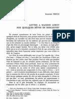 Freud - Lettre à Maxime Leroy sur quelques rêves de Descartes