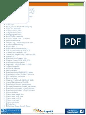Oracle PL-SQL Training Document pdf | Pl/Sql | Sql