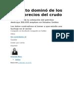 PETROLEO El Efecto Dominó de Los Bajos Precios Del Crudo