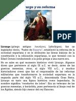 Licurgo y Su Reforma