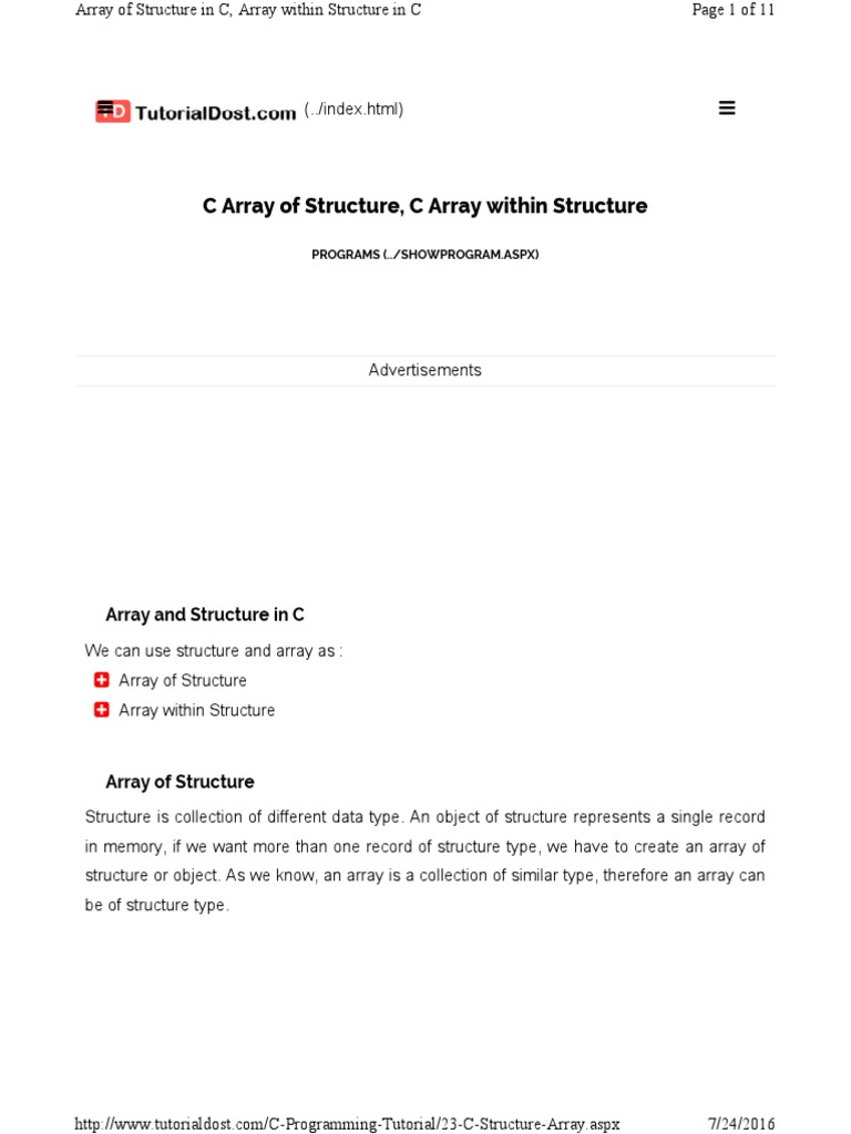 structure in c explained | C (Programming Language) | Array