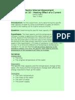 Heat Effect of a Current IB Physics Internal Assessment 1 Yr11
