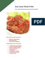 Resep Masakan Ayam Masak Pedas