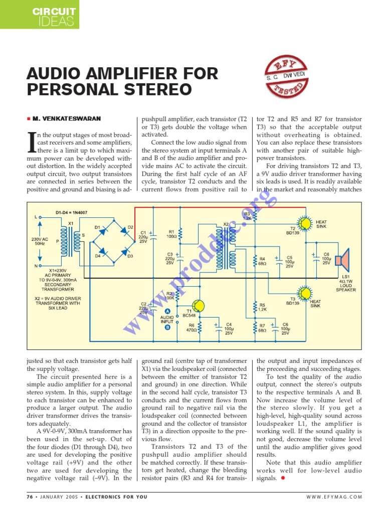 Audio Amplifier for Personal Stereo | Amplifier | Transistor