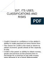 Credit, Its Uses, Classifications and Risks