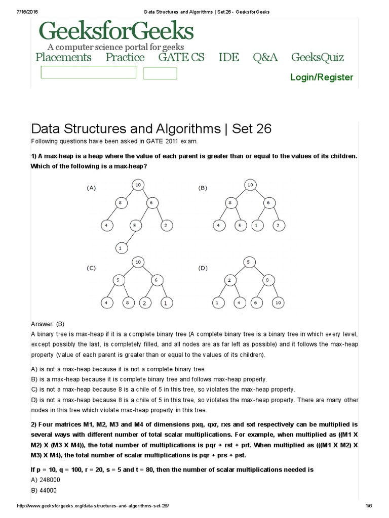 DS mcqs | Algorithms And Data Structures | Computer Programming