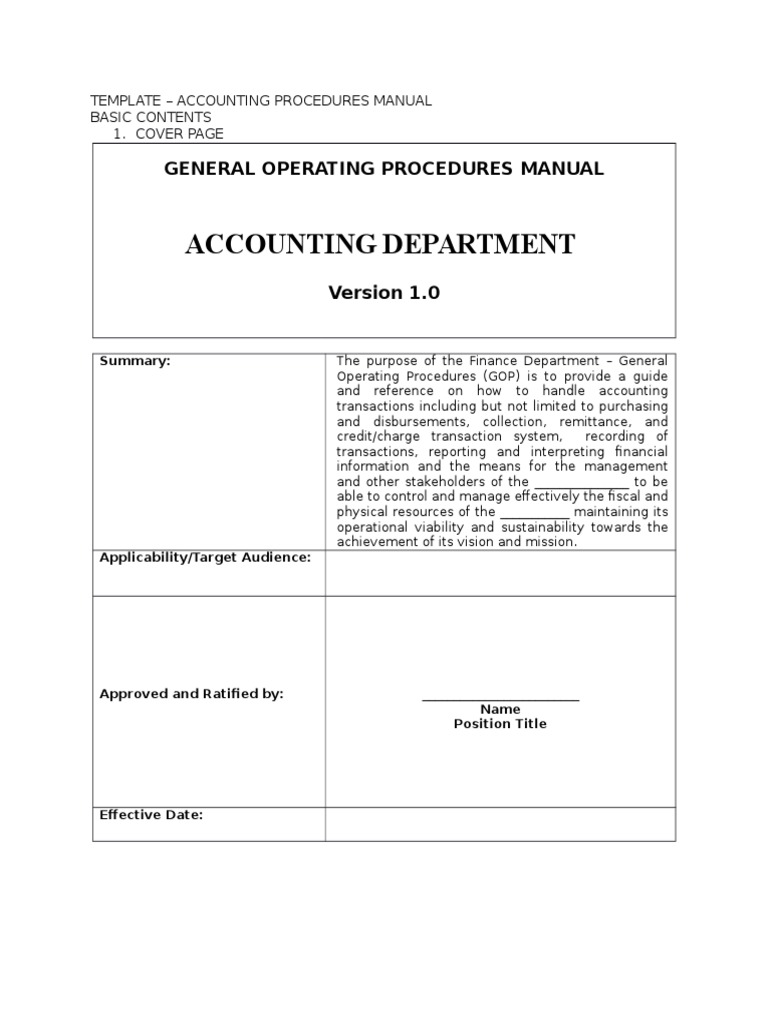 Template For Accounting Manual Accrual Financial Statement - Accounting process documentation template
