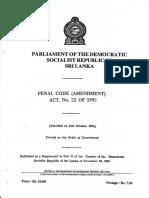 Penal Code Amendment Act No. 22 of 1995