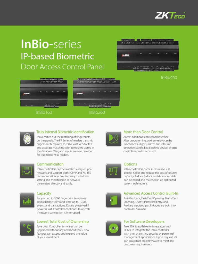 Inbio Series Access Control Computer Architecture Smartcard Controlled Lock With Relay