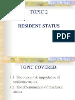 Topic 2 Residence Status