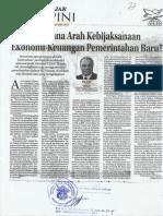 Kemana Arah Kebijaksanaan Ekonomi-Keuangan Permerintahan Baru