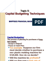 Topic 5 Capital Budgeting Technique
