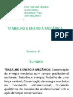 Trabalho e Energia Mecância