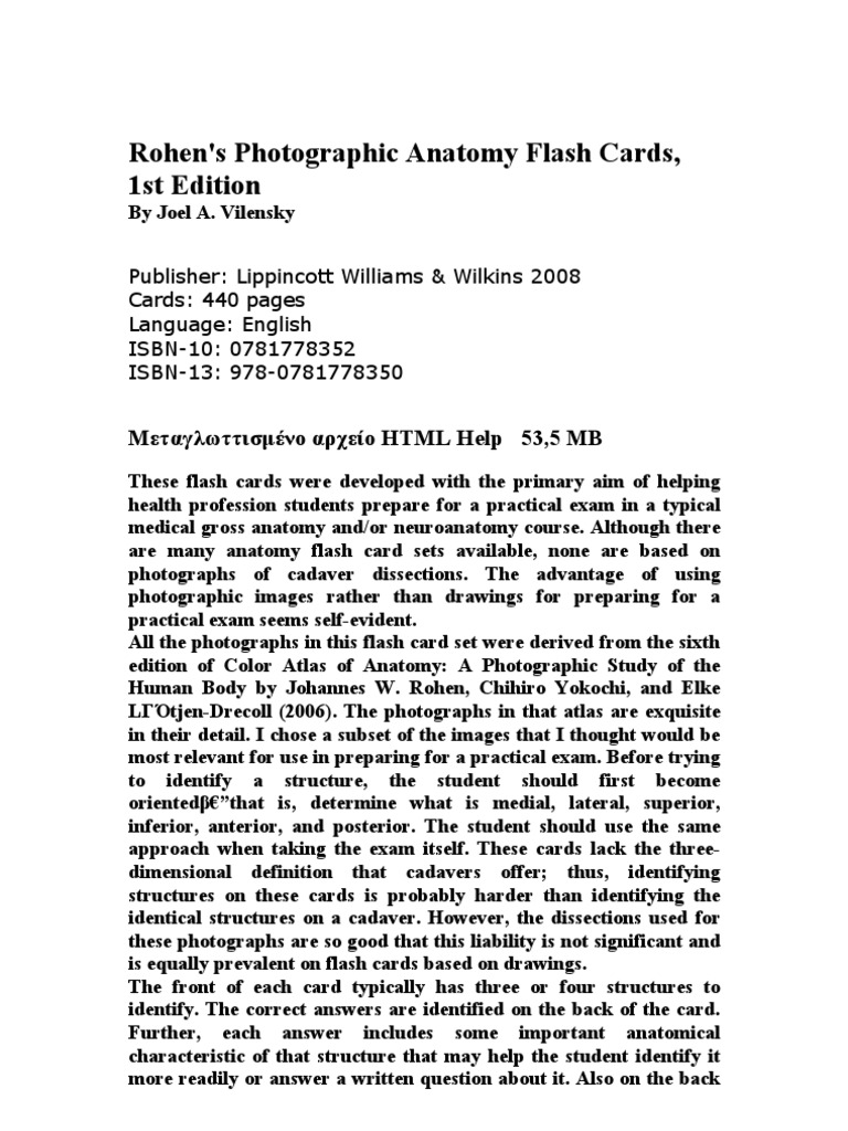 Rohen\'s Photographic Anatomy Flash Cards - 2008 (Masternikos)