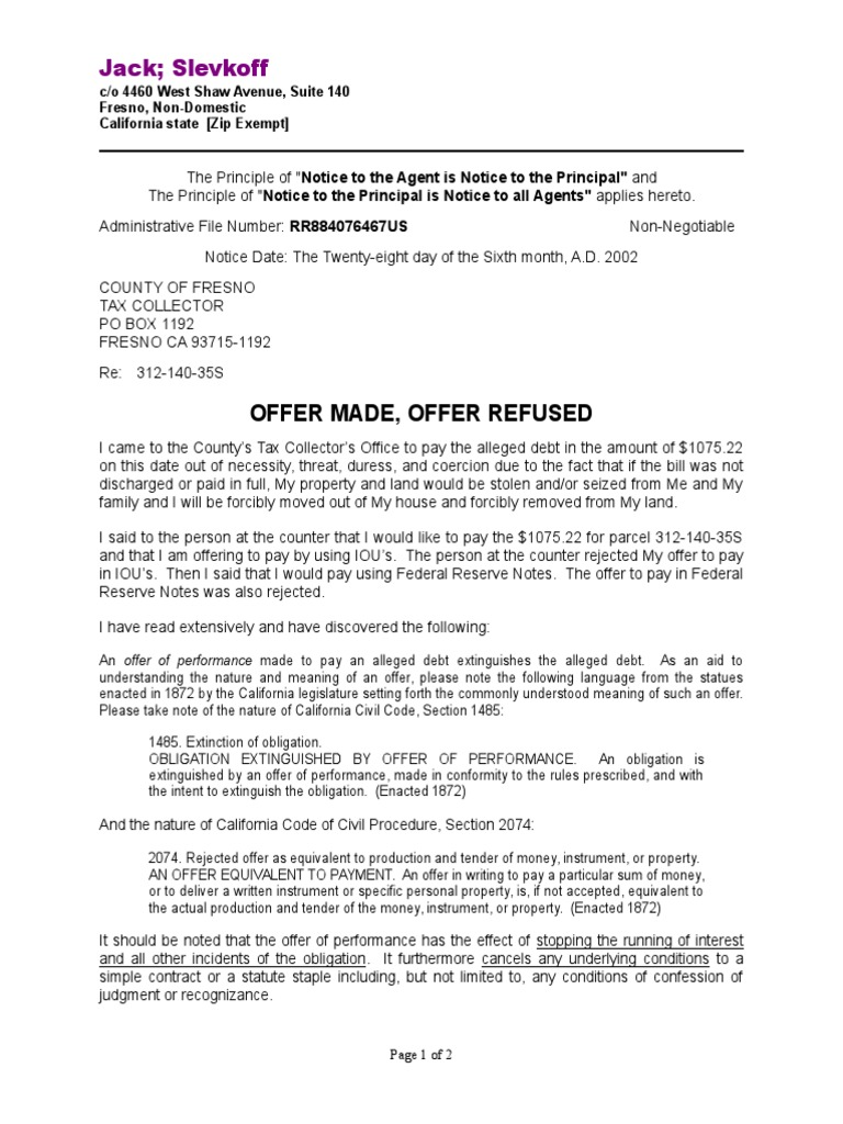 Tender Refused Is Paid Offer And Acceptance Government Information
