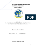 El evangelicalismo norteamericano y su inflouencia en los bautistas de Nicaragua.