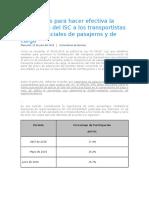 Porcentajes Para Hacer Efectiva La Devolución Del ISC a Los Transportistas Interprovinciales de Pasajeros y de Carga