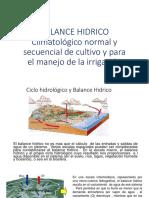 Balance Hidrico-Climatologico Normal y Secuencial de Cultivo y Para