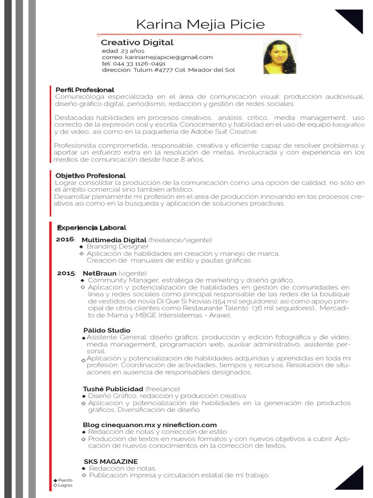 Curriculum Vitae Diseo Grafico Objetivos. Perfect Modelo De ...
