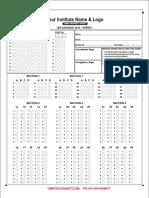 112038 IIT JEE Advance 2014 Paper 1 Omr Answer Sheet