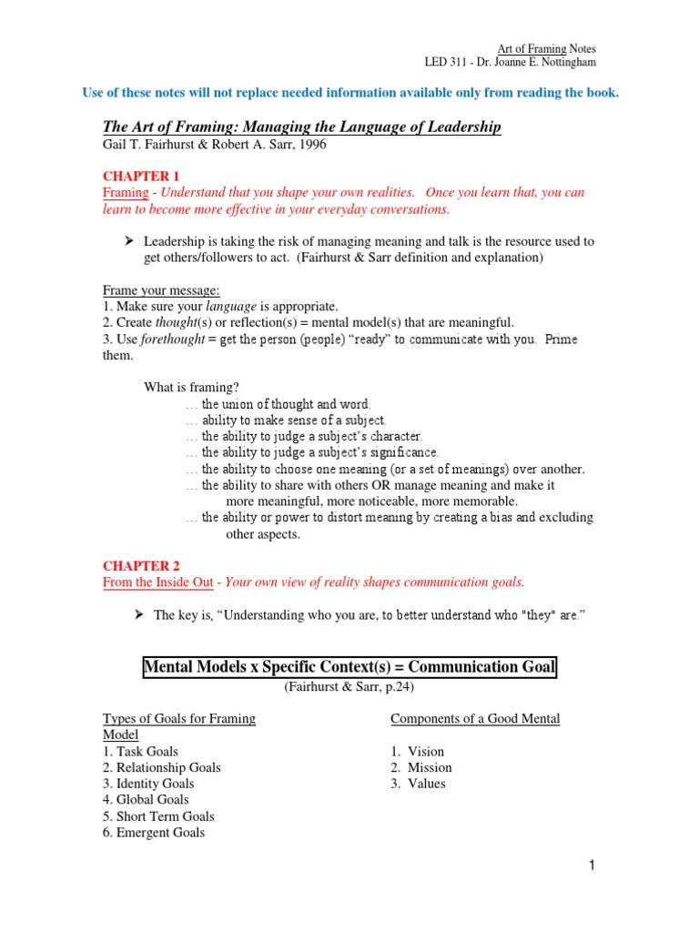 Art of Framing Notes for Students LED311 | Framing (Social Sciences ...