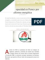 Aumenta opacidad en Pemex por reforma energética, por Nancy Flores