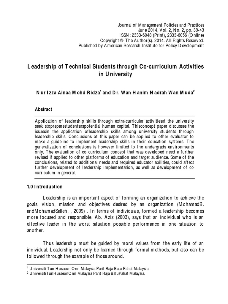 Leadership of Technical Students Through Co-curriculum Activities ...