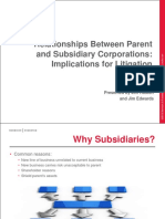 Relationships Between Parent and Subsidiary Corporations Implications for Litigation(1)