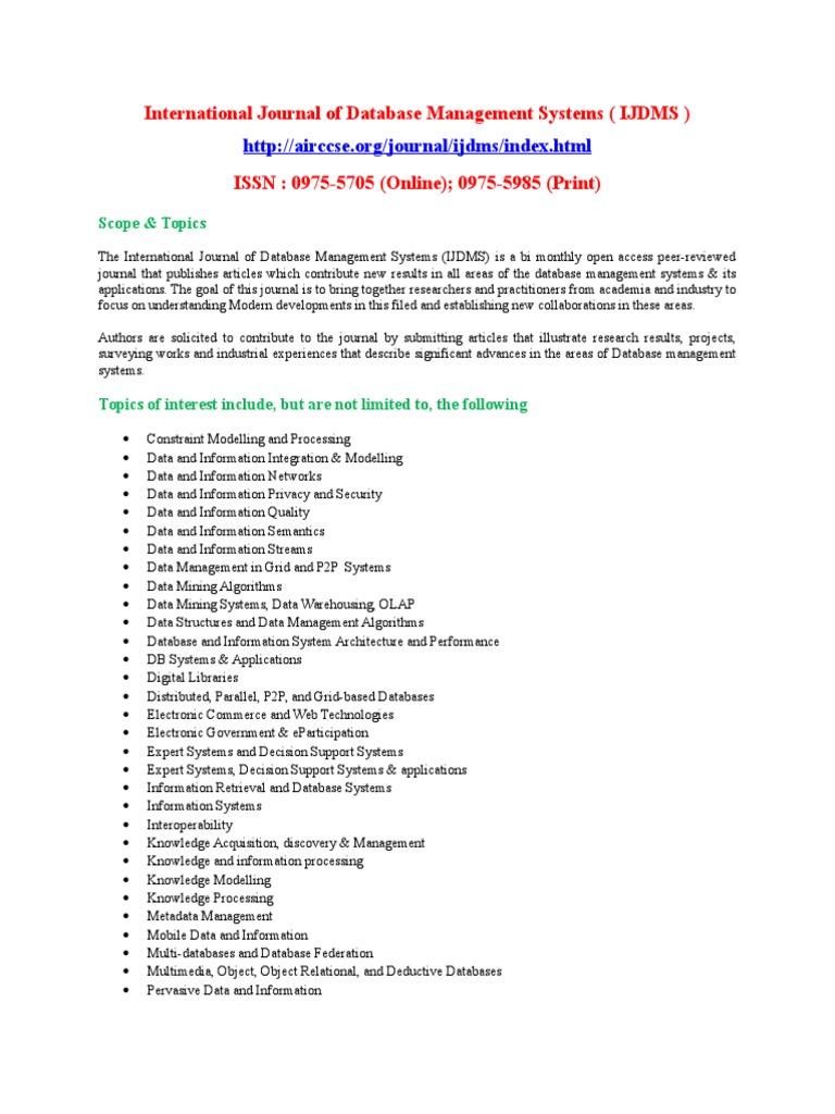 International journal of database management systems ijdms data mining databases
