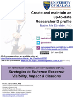 Create and maintain an up-to-date ResearcherID profile
