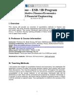 Syllabus - Quantitative Finance and Economics by Professor Herzog - Fall Term 2013
