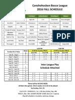 2016 Fall Schedule