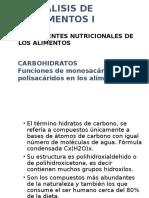 Clase de Carbohidratos Analisis de Alimentos