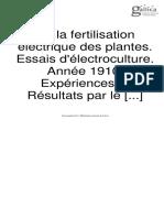De la fertilisation electrique des plantes