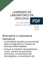 1. Examenes de Laboratorio en Urologia