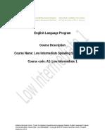 Course Description a2 Low Intermediate Part 1